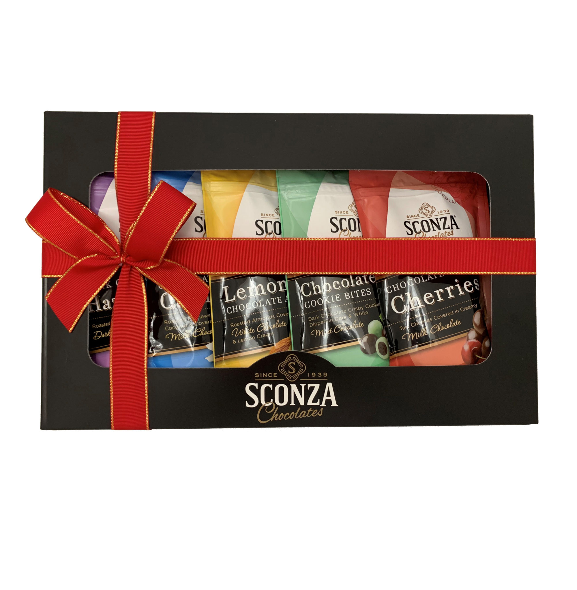 A black gift box with red ribbon and 5 bags of assorted Sconza Chocolates inside